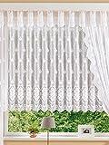 Hochwertige Plauener Spitze Fertiggardine Stores Blumenfenster Jacquard-Qualität H/125 x B/600 cm Mika