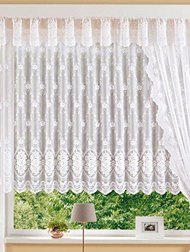 Plauener Spitze Hochwertige Fertiggardine Stores Blumenfenster Jacquard-Qualität H/125 x B/450 cm...
