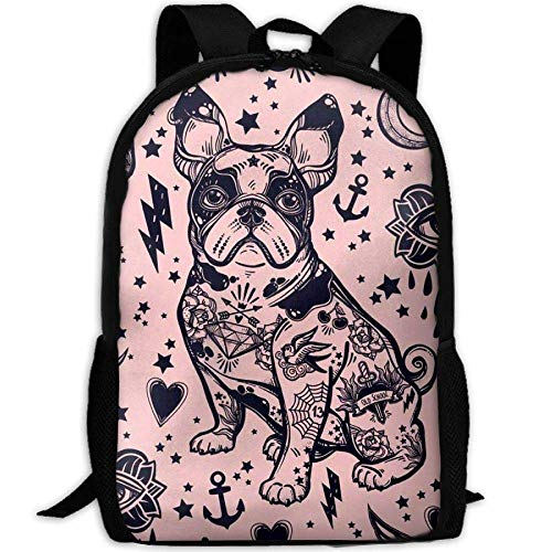 fsfsdafsa School Sac à DOS de Voyage and Lunchbox Bag Set for Kinder Boys Girls, Personalized Schultasches - Cute French Bulldog (Bulldog-gitarre)