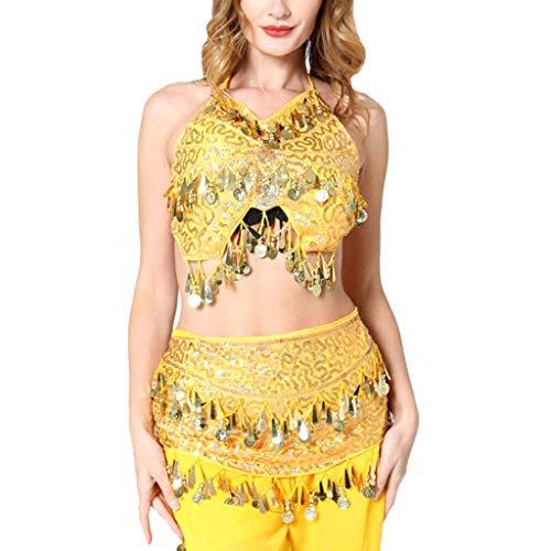 Bauer Bluse Kostüm - Ziyou Frauen Bauchtanz Kostüm Tanzkleid Sexy Sling Neckholder Top und Taille Kette(Free, Gelb)