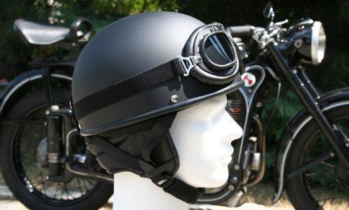 Oldtimer Motorradhelm mit Brille Größe: XS 53/54cm, Schwarz matt
