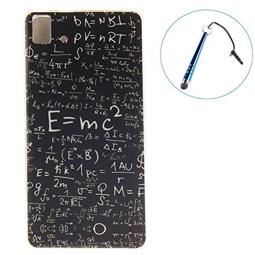 BQ Aquaris E5 HD/FHD Funda,TPU Silicona Bumper Case Cover Protectora Back Shell Skin Case Cubierta para BQ Aquaris E5 HD-1 pc libre lápiz capacitivo (Mathematical Formula)