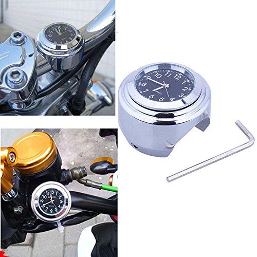 Universal Motorraduhr Motorrad Lenker Uhr wasserdicht schwarz weiss Aluminium 7/8