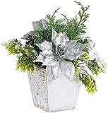 infactory Kunstblumen: Weihnachts-Gesteck mit Blumen, Zweigen, Zapfen und Kunst-Schnee, 22 cm (Dekoblume)