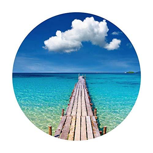 3D Strand Holzbrücke Runde Dekorative Aufkleber PVC Desktop Floor Door Rutschfeste Wasserdichte Hauptaufkleber (größe : 60cm×60cm) (Streifen-bett-satz)