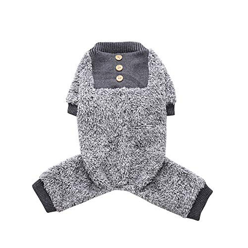 Oncpcare Hunde-Pyjama aus Fleece, weich, warm, Hunde-Jumpsuit, Hemd, 100% Baumwolle, Kleidung für kleine Hunde und Katzen