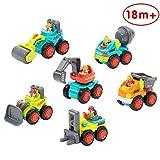 Limtoys Kunststoff Spielzeugauto, 6 Baufahrzeuge in Einem Set LKW Spielzeug für Kinder ab 18 Monate - Bulldozer, Zementmischer, Kipper, Gabelstapler, Bagger und Straßenwalze