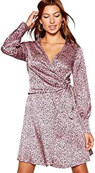 72388c02bf Red Herring Womens Pink Animal Print Jacquard Tie Front Long Sleeve Mini  Dress