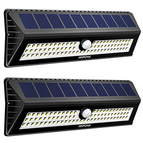 [2 Pezzi] Luce Solare Mpow 77LED con Sensore di Movimento, Lampada Solare Impermeabile a Parete Luminosa, 3 Modalità funzione Per Giardino, Vialetto, Cantiere, Garage, Percorso e Patio