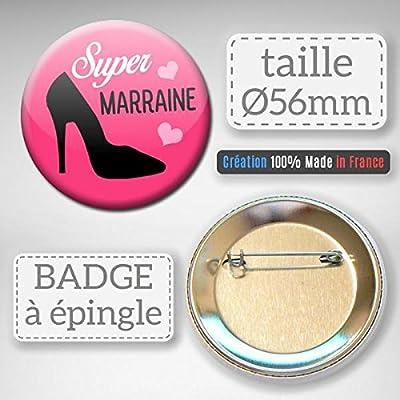 Super Marraine Badge rond à épingle 56mm ( Idée Cadeau Baptême Communion Noël )