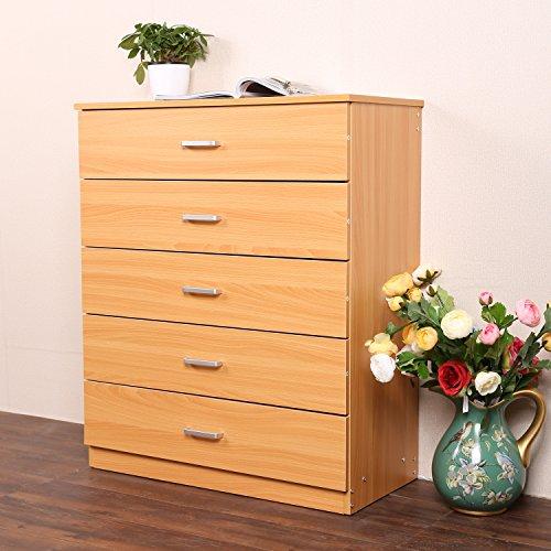 Modrine Buche Kommode - 5 Schubladen - Einzigartiges System um ein Verbiegen der Schubladen zu verhindern - Schlafzimmer Sideboard (Gelb) (Brust Buche Schubladen)