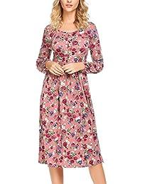 f7122eb6d6d450 Parabler Damen Herbst Elegant Rundhals Langarm Blumenkleid Printkleid  Druckkleider Casual Kleid A-Linie Partykleid Stretch