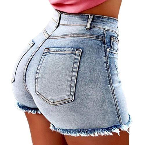 Orandesigne pantaloncini jeans donna vita alta corti estivi shorts sexy pantaloncini corti sfilacciati blu chiaro m