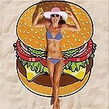 Esta.east Telo Mare Estivo con Frutta Fresca,Scialle Solare/Asciugamano Sportivo/Coperta Scialle per Piscina (Hamburger)