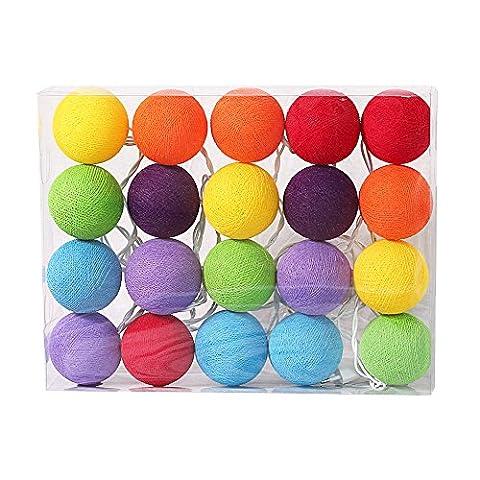 LED Lichterketten bunt 20 Baumwollkugeln (6 cm) CE 3,5m Deko innen Cotton Ball | Baby Nachtlicht Schlummerlicht | Dekoration Hochzeit Geburtstag Party Weihnachten Lichterkette