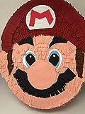 Pignatta Super Mario Bros (pentolaccia, piñata) Sagoma della testa di Super Mario Nintendo. Gioco della pignatta per feste di compleanno per bambini. Prodotto artigianale