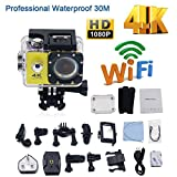 Sports Action Kamera Wifi 4K 16MP 2 Zoll Ultra Full HD 1080P Helmkamera Sport Action Camera Cam 30m Tiefe wasserdicht 170 Grad Weitwinkel Linse mit Batterien + Accessoires Kits für Fahrrad Motorrad Tauchen Schwimmen usw.