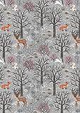 Lewis & Irene LEW515 Weihnachts-Woodland-Stoff, 100%