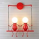 Applique de la lampe LED moderne lampe de fer lampe chambre lampe murale salle de montage mural Creative mur créatif Les enfants simple couloir de lampe de chevet lampe Living escalier couloir,Rouge