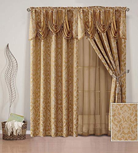 e mit 2 Gardinenstangen Bestickt Jacquard Vorhang Set mit befestigter, durchscheinender Rückseite, Volant und Quasten für Wohnzimmer, Esszimmer oder Schlafzimmer Gold ()