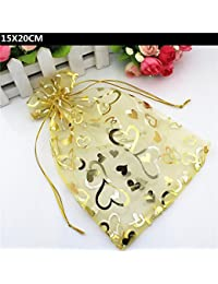 Generic 100 PCS Lot 15X20CM Gold Organza Heart Printed Pouch Drawstring Candy Bag Organza Jewelry Bags Gift Packaging...