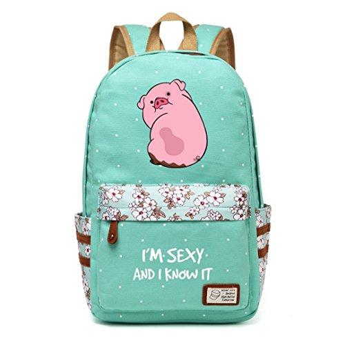 Gravity Falls Canvas Bag Flower Wave Point Rucksacks Backpack Girls Women School Bags Travel Shoulder Bag Green1