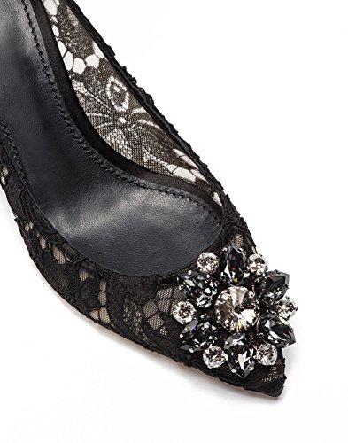 uBeauty Damen Stilettos Hell Spitzen Pumps Luxus High Heels Hochzeitsschuhe Spitze Zehen Slip-on Sandalen Schwarz