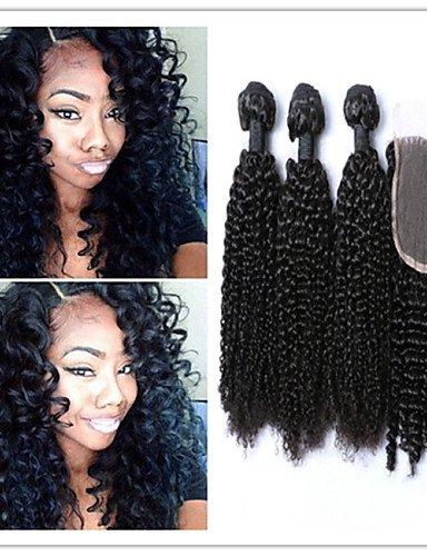 IJKIU Jff/4 pcs/lot Afro Kinky Curl Vierge Mongol Extensions de Cheveux crépus bouclés Vierge Tissage de Cheveux Cheveux avec Top en Dentelle Fermeture, 28 30 32 & 26-3 Part