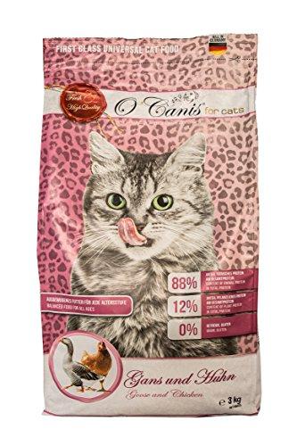 O\'Canis for Cats Katzenfutter Trocken Ohne Gentechnik, Hoher Fleischanteil, getreidefrei und glutenfrei, Trockenfutter für Katzen Gans und Huhn 3kg