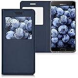 kwmobile Étui de protection à rabat avec couverture en cuir synthétique pratique et chic pour Samsung Galaxy A5 (2016) en bleu foncé
