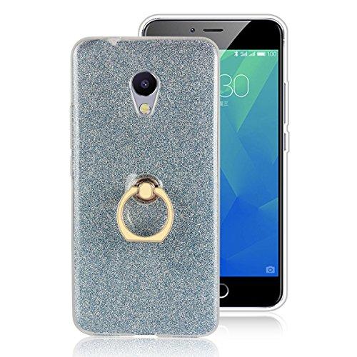 Custodia Per MEIZU M5S, Sunrive Trasparente Custodia Cover TPU con 360 gradi di rotazione dell'anello Cavalletto + Carta Ultra Sottile Glitter Sparkle Bling Bling(blu)