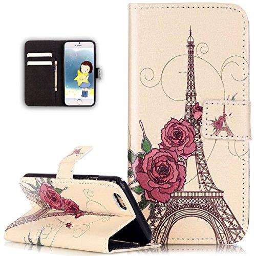 iPhone 6S Plus Hülle,iPhone 6 Plus Hülle,iPhone 6S Plus / 6 Plus Hülle,iPhone 6S Plus / 6 Plus Leder Wallet Tasche Brieftasche Schutzhülle,ikasus® Embossed Geprägte Muster PU Lederhülle Flip Hülle im  Blumen Eiffelturm