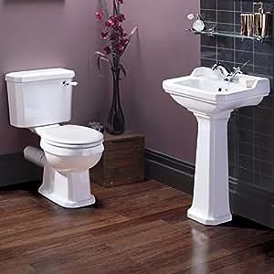 Ensemble lavabo 500mm et toilette traditionnel Rossington (abattant blanc) Style rétro en Céramique Blanche Abattant WC en bois blanc à charnières chromées