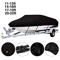 Benchmart Trailerable Boat Cover, Heavy Duty 420D Marine Grade Oxford Cloth Waterproof UV Protected V-hull Runabout Jumbo Boat Speedboat Fishing Ski Boat Covers (17-19ft/600 * 230)