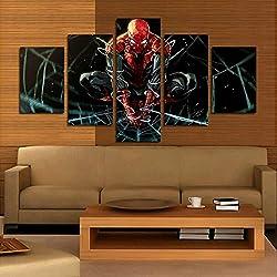 ZLQF Impressions sur Toile 5 Pièces Spiderman Superhero Moderne Décoration Murale Photo Art HD Imprimer Peinture Artworks,B,20 * 30 * 2+20 * 40 * 2+20 * 50 * 1