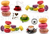 Stickers DÉCORATIFS Patisserie Cuisine Gateau Bonbon Cupcake à découper (Planche à Stickers Dimensions 21x28cm en Papier ADHESIF Transparent)