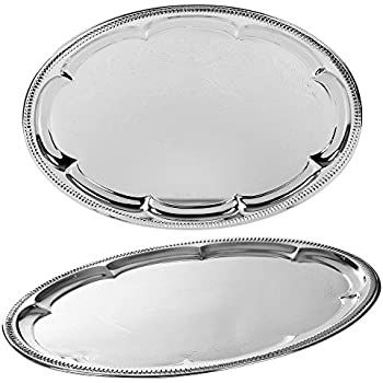 Relatively Silver Effect Polished Round Serving Tray Dinner Platter Tableware  QR02