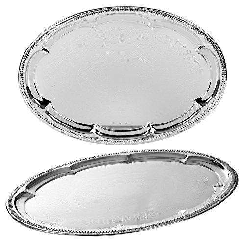 Effet argent poli Table ronde plateau de service plateau Table Boissons Thé Plaque Dîner Plat en métal, Oval Mirror Effect, Oval Mirror Effect