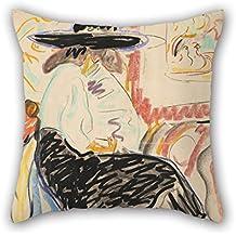 """elegancebeauty manta fundas de almohada de pintura al óleo Ernst Ludwig Kirchner–sentado mujer en el estudio, para casa cine en casa, oficina, Teens, niños, coche, familia 16x 16""""/40por 40cm (dos lados)"""