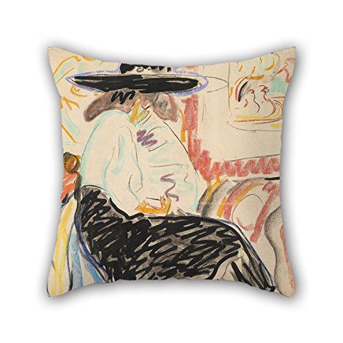 artistdecor Ölgemälde Ernst Ludwig Kirchner–Sitzende Frau in der Studio Überwurf Kissen 45,7x 45,7cm/45von 45cm beste Wahl für Liegestuhl Diwan Outdoor Deck Stuhl, pub Familie mit TWI (Liegestuhl In Frau)