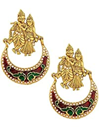 Royal Bling Trendy Stylish Fancy Party Wear Gold Plated Radha Krishna Earrings For Women And Girls