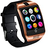 Bluetooth Smart Watch Phone Touchscreen Armbanduhr Handy-Uhr Sport Smartwatch Uhr Wasserdicht Fitness Intelligente Uhr Telefon Kompatible IOS Andriod iPhone X 8 7 Smartphones für Herren Damen Gold