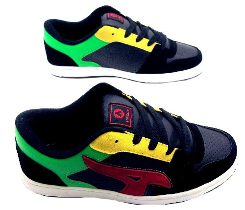 airwalk-check-monopatin-guantes-mens-reflex-trainers-skate-shoe-lace-up-suede-black-rojo-verde-eu-si
