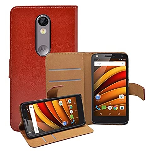 Membrane - Brun Portefeuille Etui Coque pour Motorola Moto X Force - Wallet Case Housse + 2 Protections d'écran