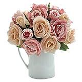 Ramo de novia artificial de 9 flores de Namgiy, hecho a mano, para boda, fiesta, cumpleaños, decoración, A, 25 * 7.5 * 3.5cm