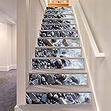 LLL LT034 6PCS Weiß Wasser Grau Stein Treppenhaus Aufkleber Entfernbar Selbstklebend Wasserdicht DIY Wandgemälde