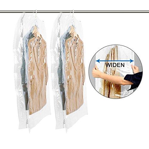 TAILI Wide-Side Hängen Vakuum-Aufbewahrungsbeutel Cube zum Unterbringen von Kleidung im Schrank, platzsparend, 135 x 70 x 38 cm, für Kleidung, Bettwäsche und zum Packen, 2 Stück (Vakuum Aufrecht)