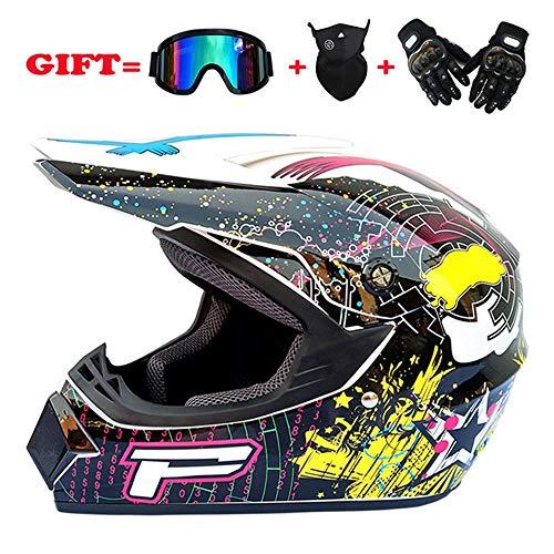 Exklusive Anpassung Motorradhelm Full Cover Four Seasons Off-Road Motorrad Vollvisierhelm Off-Road-Helm Goggles Mask Gloves Sicheres Fahren