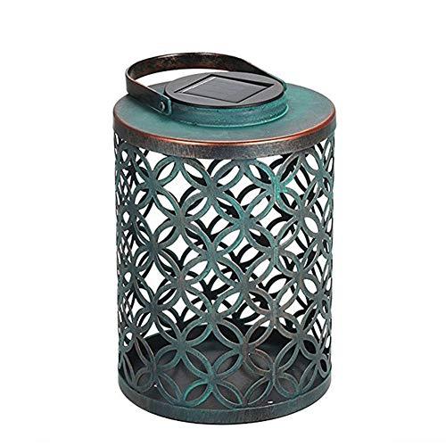 GYFHMY 2er Pack Retro Solar Hängelampe Eisen Laternendekor, wasserdichte Musterlampe mit Griff für Terrassenaußentisch Veranda Wand Hofdekoration, weiß -