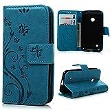 MAXFE.CO Lederhülle Leder Tasche Case Cover für Nokia Lumia 530 N530 Hülle PU Schutz Etui Schale Blau Backcover Flip Cover Wallet mit Standfunktion Karteneinschub und Magnetverschluß Etui